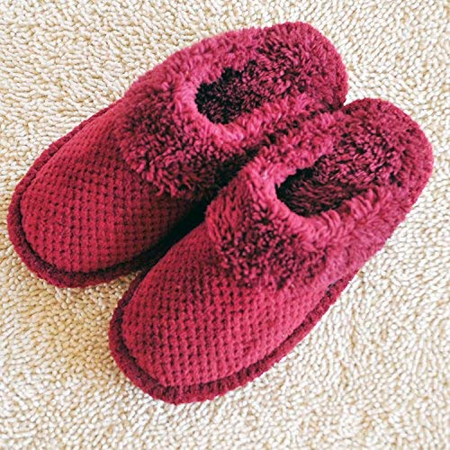 Red JaHGDU Ladies Casual Wool Slippers Indoors to Keep Warm in Autumn and Winter Coral Fleece Slippers Red Pink for Women