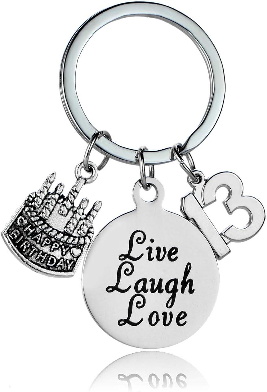 Cake Cheer Live Laugh Love Charms Key Chains Unisex Birthday Gifts 13th Birthday Happy Birthday Keychain