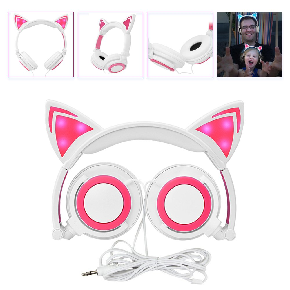 Headphone Cat Ear Headset, Foldable LED Light Cosplay Flash Earphone for Teens Girls Boys,Compatible for iPad,Tablet,Computer,iPhone,Android Mobile Phone (WhiteΠnk)