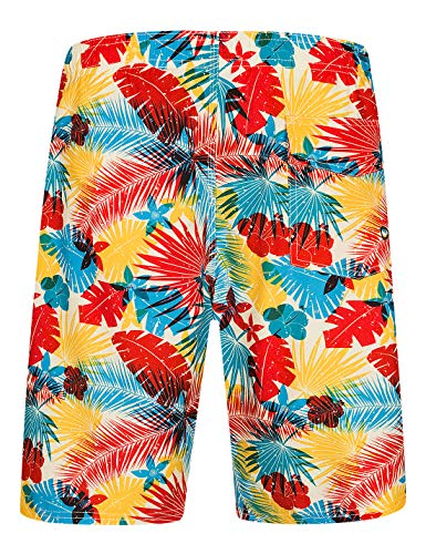 Mens Swim Trunks with Pockets Beach Swimwear Quick Dry Long Elastic Waistband Board Shorts Bathing Suits Holiday(SA06)-S Flower
