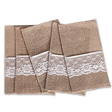 Ling's moment Burlap Cutlery Holders, 4x8 Inch, Pack of 100