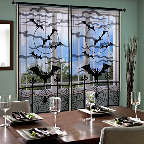 Kiwtwo 2pcs 40 x 84 inch Halloween Decoration Black Bats Lace Window Curtain, Halloween Spooky Lace Curtain Panel for Halloween Party Window Decorations (Halloween Makeup Web)