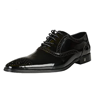 3fc18cf25b1 Versace Collection Black Patent Leather Oxfords Shoes US 9 IT 42 (Shoes 823)