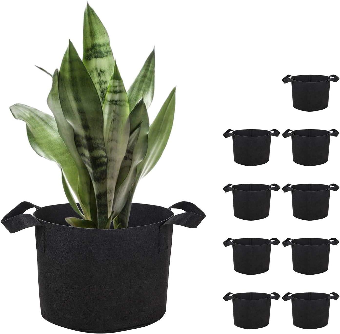Brajttt 10 Gallon Grow Bags Set, Aeration Fabric Pots with Handles,Black Plant Bags,Durable Garden Grow Pots,Fabric Containers with Strap Handles 10 Pack