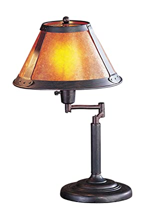 Cal Lighting BO 462 Table Lamp With Mica Glass Shades, Rust Finish