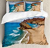 Landscape Duvet Cover Set by Ambesonne, Ocean View Tranquil Beach Cabo De Gata Spain Coastal Photo Scenic Summer Scenery, 3 Piece Bedding Set with Pillow Shams, Queen / Full, Blue Brown