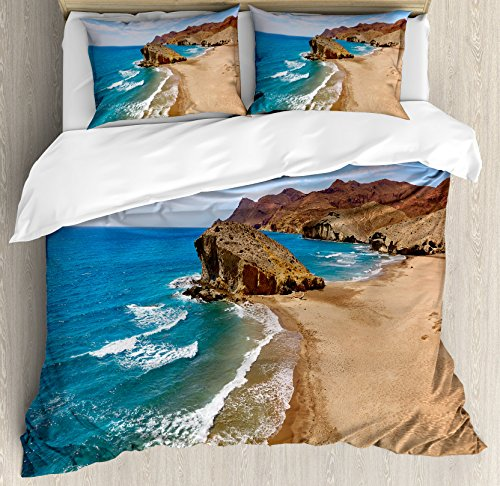 Landscape Duvet Cover Set by Ambesonne, Ocean View Tranquil Beach Cabo De Gata Spain Coastal Photo Scenic Summer Scenery, 3 Piece Bedding Set with Pillow Shams, King Size, Blue Brown by Ambesonne