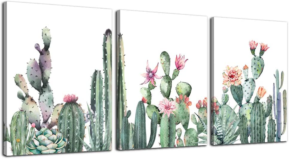 """Canvas Wall Art for living room bathroom Wall Decor for bedroom kitchen artwork Canvas Prints green Succulent cactus painting 12"""" x 16"""" 3 Pieces Modern framed office Home decorations family picture"""