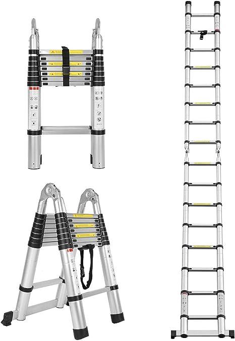 Aluminium Mehrzweck-Leiter mit Absenkautomatik 3,2 m zusammenklappbar gerade Form belastbar bis 330 kg Teleskopleiter mit Haken ausziehbare Stufen