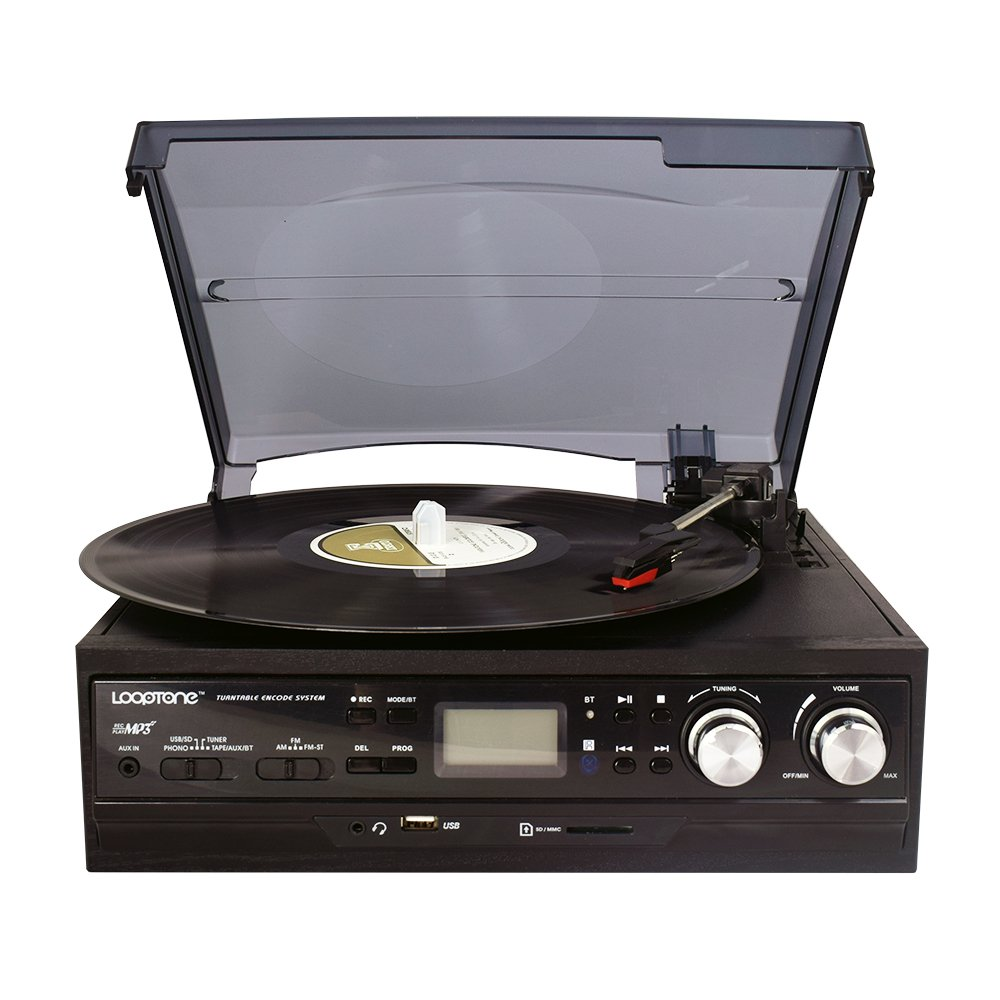 LoopTone 3 Speed Belt-Driven Record Player Bluetooth Turntable with Built in Speakers , AM/FM Radio , Supports USB/SD Encoding to MP3, Cassette Player,AUX in /Headphone Jack ,LCD Display (Black )
