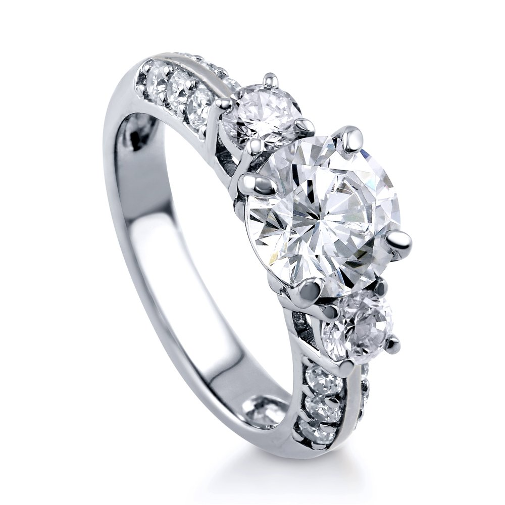 BERRICLE Rhodium Plated Sterling Silver Round Cut Cubic Zirconia CZ 3-Stone Engagement Ring Size 7