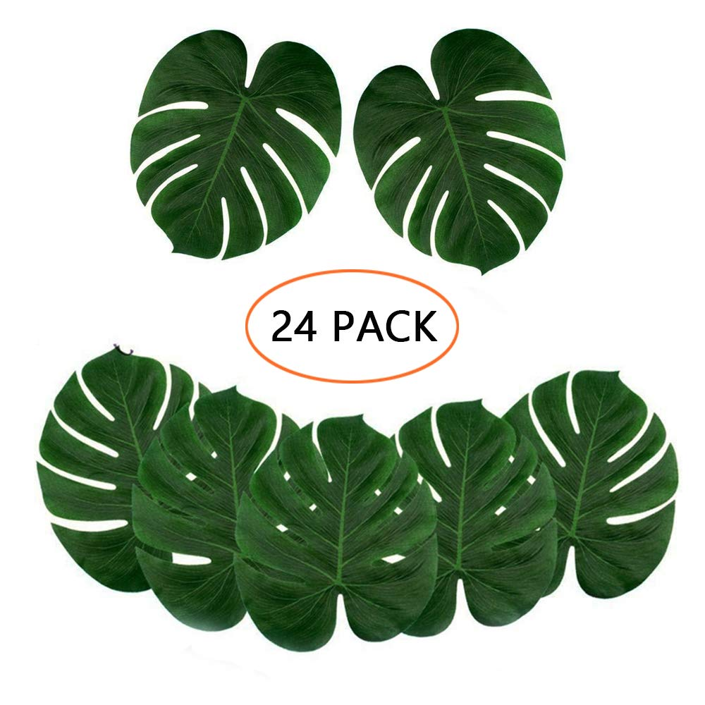 Large Size Kalolary 24pc Artificial Tropical Palm Leaves Party Decorations Faux Palm Leaves for Hawaiian Luau Safari Jungle Beach Theme Party Wedding Decoration 13.8 by 11.4 inch