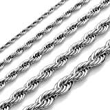 """Zysta Stainless Steel Rope Chain Link Necklace 22""""-25"""" Long 2-6MM Wide Available)"""