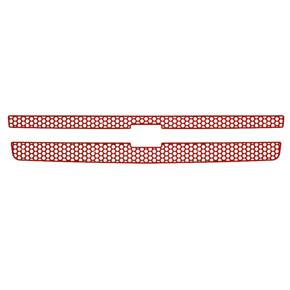 2007-2013 Chevy Silverado 1500 TRK-107-03-Red-a Ferreus Industries Grille Insert Guard Circle Punch Red Powdercoat fits