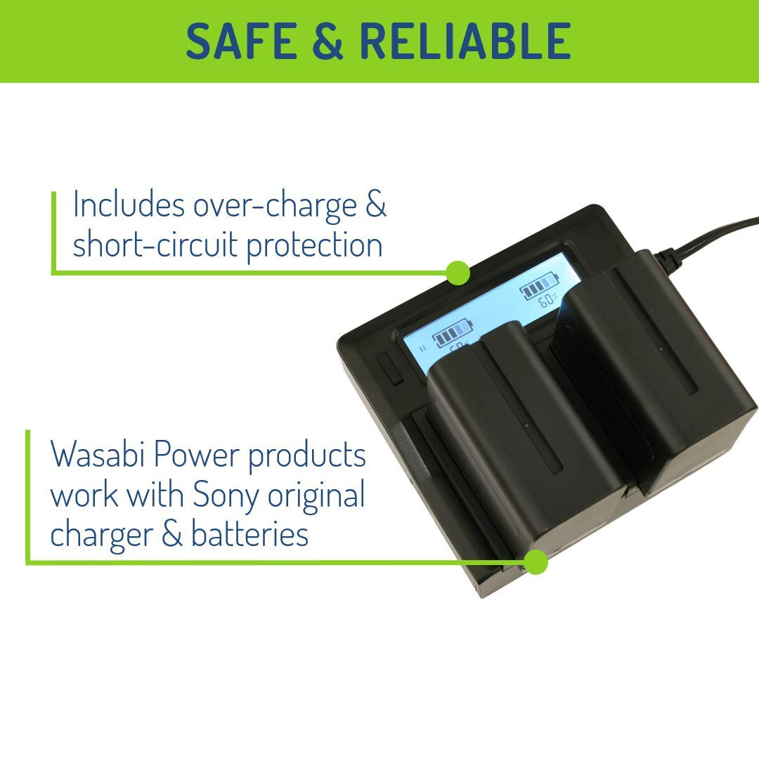 L Series NP-F975 Wasabi Power Battery NP-F960 and Dual Charger for Sony NP-F950 NP-F970 2-Pack