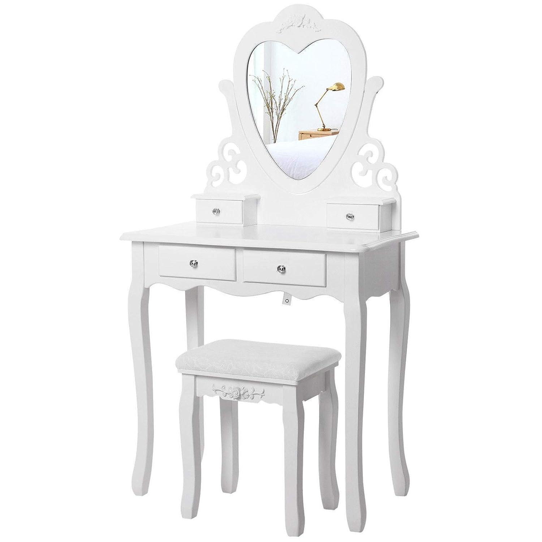 Generic Rror M Table de Maquillage ng TA Miroir en Forme de c/œur K avec St avec Tabouret Ensemble Coiffeuse Blanc