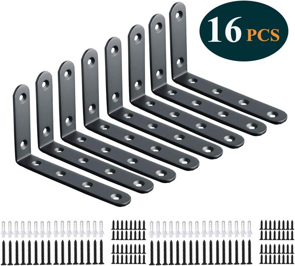 Shelf Brackets 16pcs Corner Brace Black Steel L Brackets for Shelves 5 Inch x 3 Inch Decorative Corner Brackets for Wall Joint Angle Brackets for Shelf with Screws (3x5 inch-16pcs)