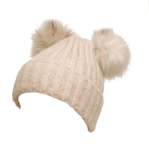 f088a2d86 Double Faux Fur Pom Pom Snuggly Cozy Winter Knitted Beanie in Beige ...