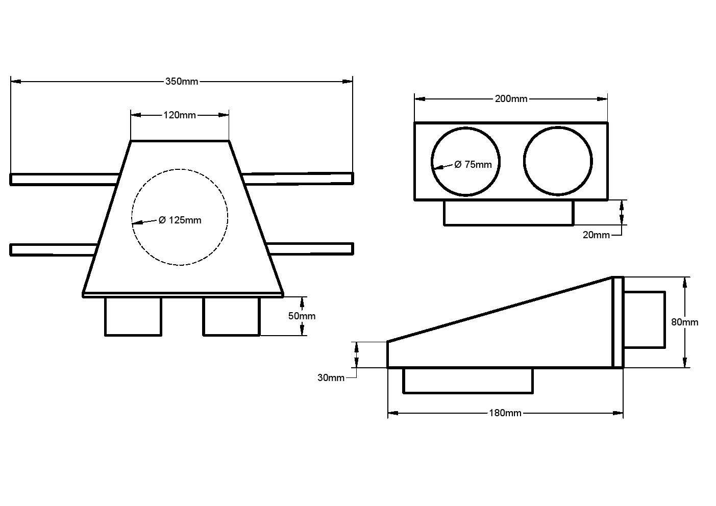 Abzweigstück DN75 auf Muffe NW125 für Tellerventil Wohnraumlüftung