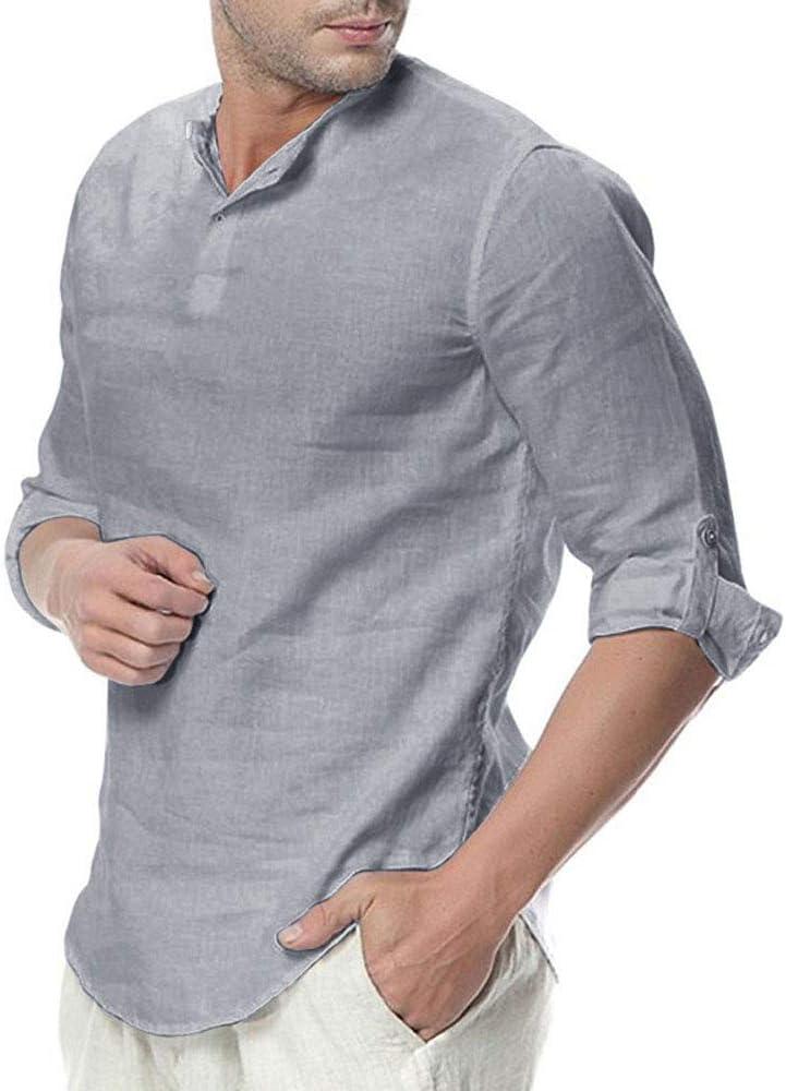 Mens Dye Short Sleeve Henley Shirt Cotton Linen Beach Yoga Loose Fit Henleys Tops