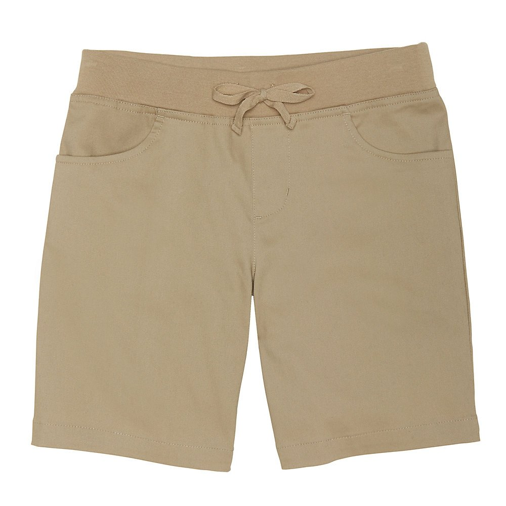 French Toast Girls' Big Stretch Pull-On Tie Front Short, Khaki, 14