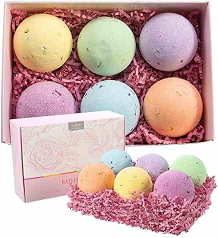 Anjou Bath Bombs Gift Set, 6 x 4.0 oz Vegan Natural Essential Oils & Dry Flowers, lush Fizzy Spa Moisturizes Dry Skin, Bubble Baths, Best Gift Kit Ideas for Girlfriends, Women, Moms