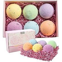 Anjou Bath Bombs Gift Set, 6 x 4.0 oz Vegan Natural Essential Oils & Dry Flowers, lush Fizzy Spa Moisturizes Dry Skin, Bubble Baths, Perfect Gift Kit Ideas for Girlfriends, Women, Moms