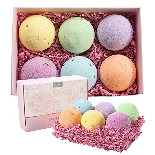 Anjou Bath Bombs Gift Set, 6 x 4.0 oz Vegan Natural Essential Oils & Dry Flowers, lush Fizzy Spa Moisturizes Dry Skin, Bubble Baths, Best Gift Kit Ideas for Girlfriends, Women, Moms