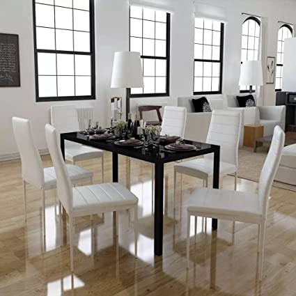 cee173570 Image Unavailable. Image not available for. Color  Festnight 7 Piece Dining  Set Black Tempered Glass Top Table with 6 ...