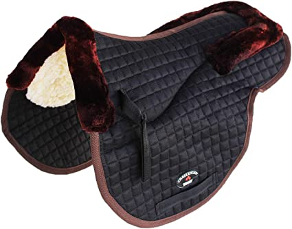 QUILTED JUMPING SADDLEPAD DRESSAGE SADDLECLOTH EXTRA THICK DARK BROWN FULL PONY