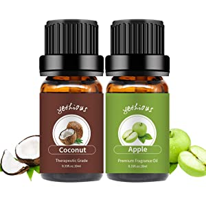 yethious Coconut Apple Essential Oil Set Pure Aromatherapy Gift Oils Kit Organic Therapeutic Grade 2 Pack Massage Oils