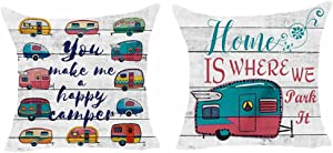 Set of 2 You Make Me A Happy Camper Home is Where We Park It Watercolor Camper Wood Grain Pillows Cotton Linen Decorative Home Office Throw Pillow Case Couch Cushion Cover 18X18 inches