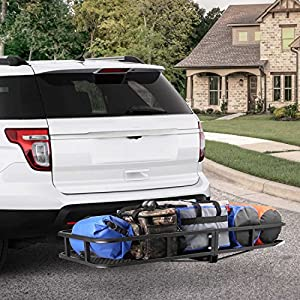 """Leader Accessories Hitch Mount Rack Cargo Basket 60"""" x 24"""" x 6"""" Folding Cargo Carrier Luggage Basket With 500 LB Capacity Fits to 2"""" Receiver For SUVs,Trucks And Cars"""