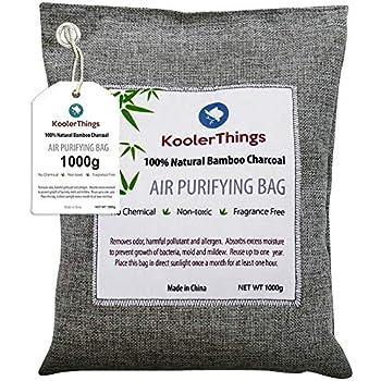 KoolerThings Bamboo Charcoal Air Purifying Bag (1000g) Natural Air Fresheners & Odor Eliminators for Home, Pets, Car, and Closet Deodorizer