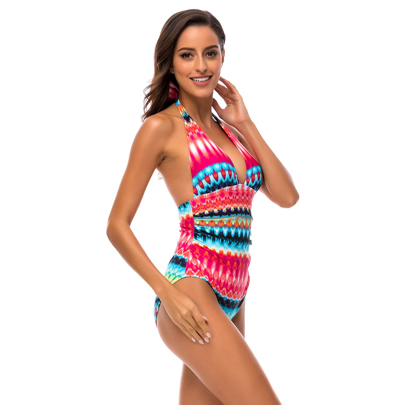 S-XXL DAYU Womens Deep V-Neck One Piece Swimsuit Halter Backless Monokini Bathing Suit