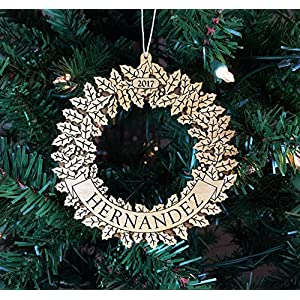 Personalized Christmas Wreath Wood Ornament, Engraved 53