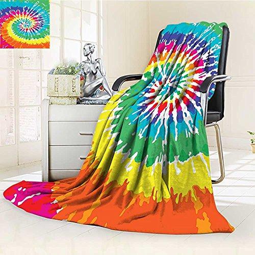 AmaPark Custom Design Cozy Flannel Blanket Tie Dye Spiral Vortex Rainbow Sixties Custom Design Cozy Flannel Blanket