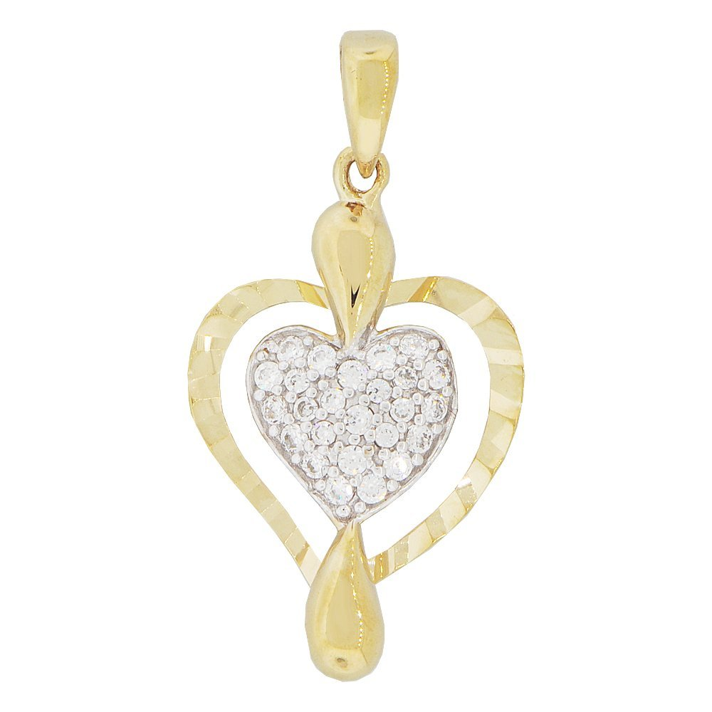 Small Modern Design Heart Pendant Charm Created CZ Crystals 14k Yellow Gold