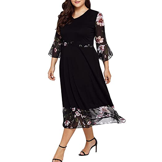 Summer Midi Dresses Plus Size Women Long Sleeve V Neck Boho Dress