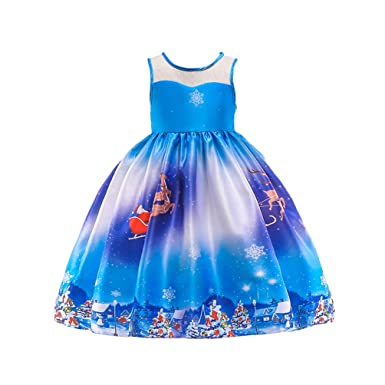 4b4c7da0d3ad3 YuanDiann Fille Robe De Noel Fete Ceremonie Père Noël 3D Impression Fleur  Bapteme Enfant Princesse Anniversaire