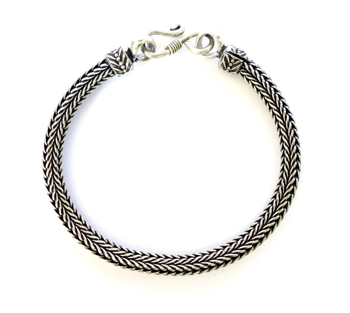 Tibetan Silver SNAKE CHAIN BRACELET FOR MEN UNISEX BRACELET 6 MM ROUND BRACELET