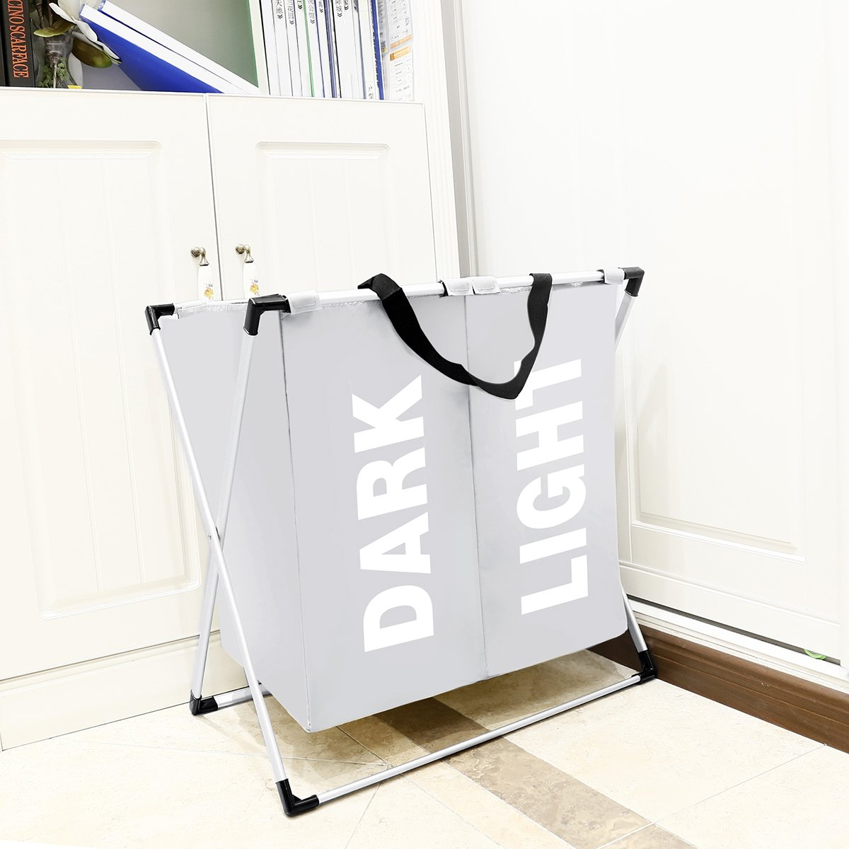Chrislley Foldable Double Laundry Hamper Aluminum Frame 600D Oxford Waterproof(Beige)