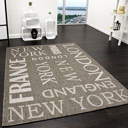 Teppich Modern City Sisal Optik Flachgewebe Designer Teppich in Grau, Grösse:60x110 cm