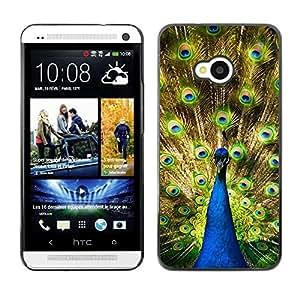 PC/Aluminum Funda Carcasa protectora para HTC One M7 Peacock Colorful Rainforest Big Bird Tail Feathers / JUSTGO PHONE PROTECTOR