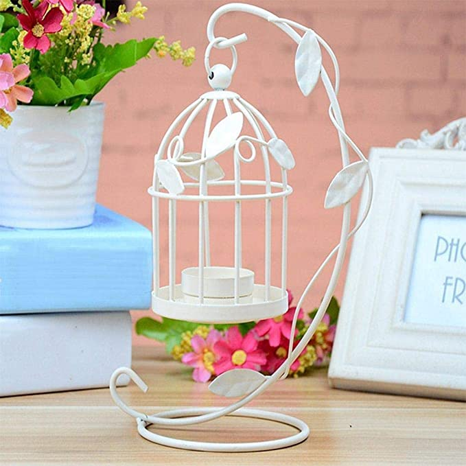 WopenJucy Metal Tealight Candle Holder Lanterns Creative Birdcage-Shape Lantern Hollow Pattern Iron Candlestick Metal Birdcage For Wedding Home Table Decoration