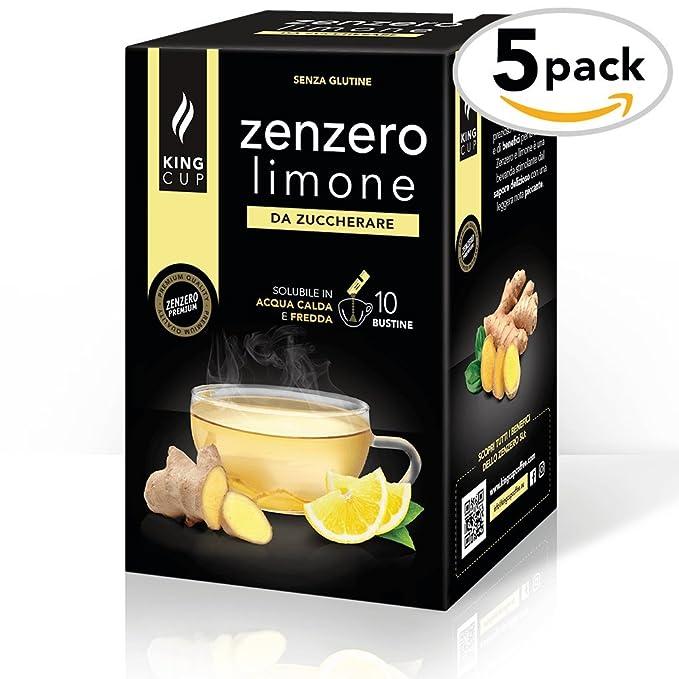King Cup - Zenzero e Limone sin azúcar - 5 paquete de 10 sobres (50