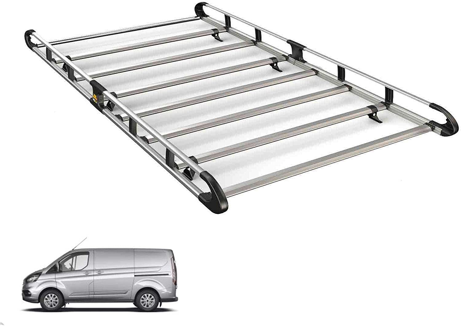 Low Roof Van Guard ULTI Bar 3 Roof Bars and Rear Ladder Roller Kit for Ford Transit MK6//7 00-14