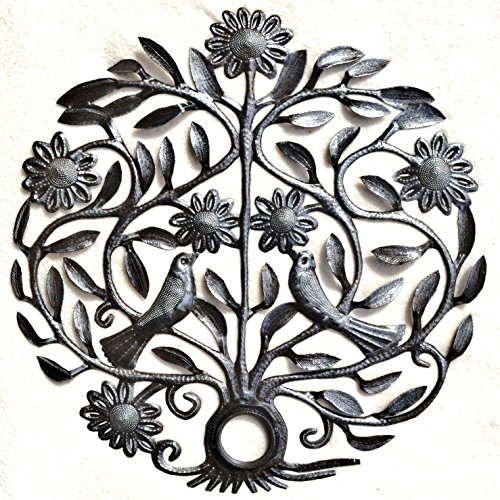 "Spring Lovebird Tree of Life Haitian Metal Wall Art Made From an Oil Drum Lid (22.5"" X 22.5"")"