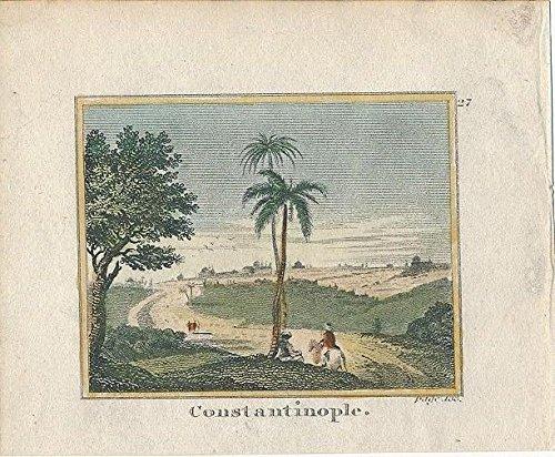 1820 Original Antique - Constantinople Turkey 1820 original antique miniature hand color city view