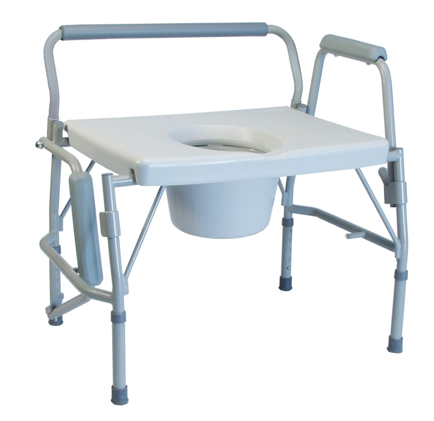 Graham-Field Lumex 3-in-1 Bariatric Bedside Commode, Raised Toilet Seat, and Toilet Safety Rail, 600 lb. Weight Capacity, 6438A